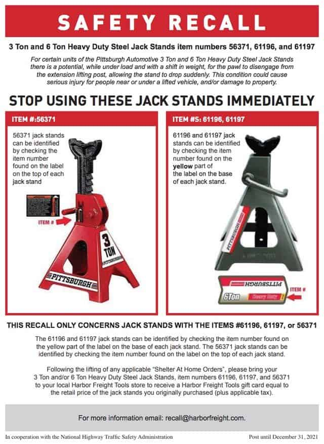 Harbor Freight Jack Stand Recall Notice