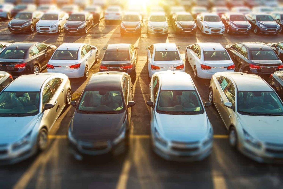Overhead view of a full car lot