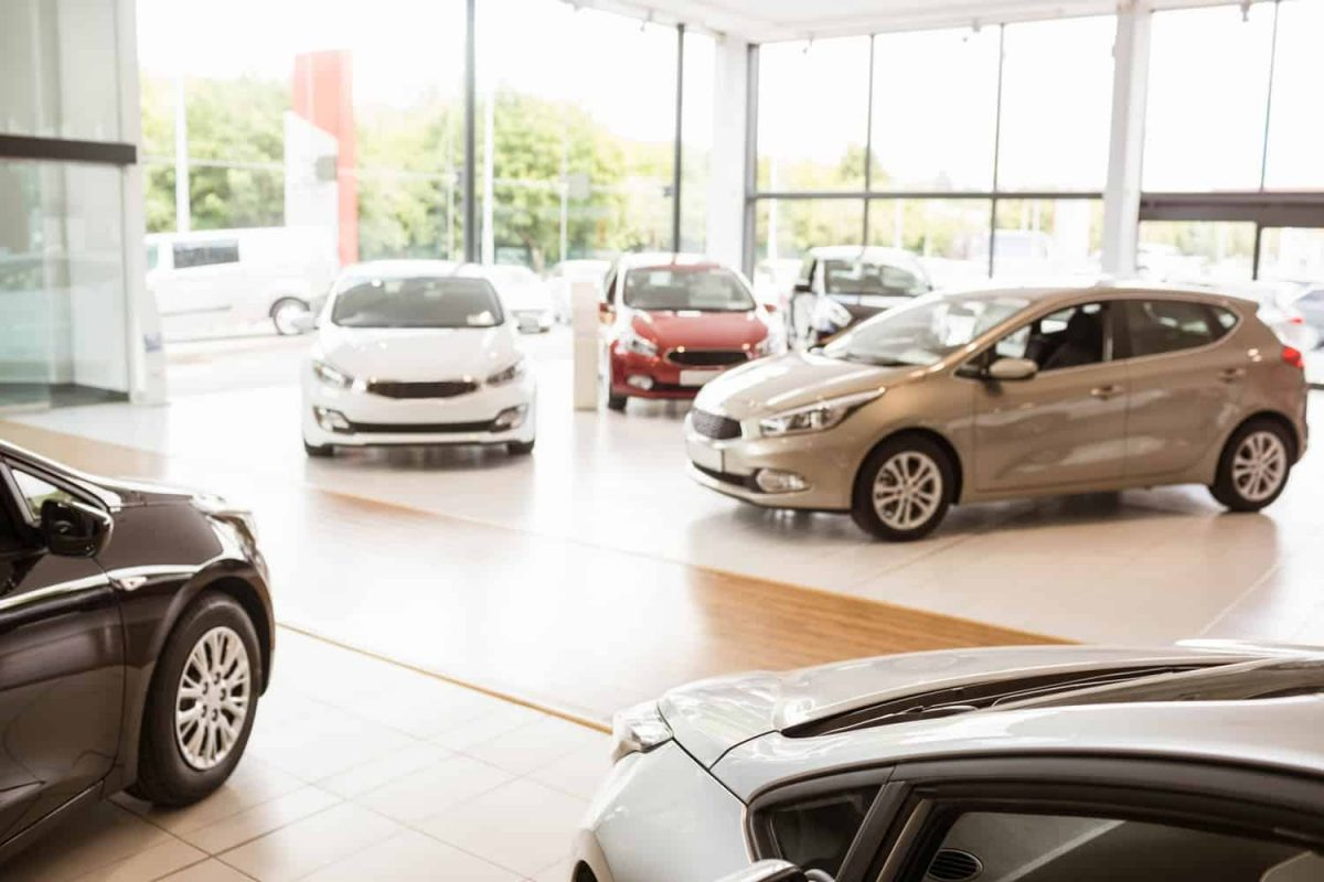 View of the inside of a car showroom